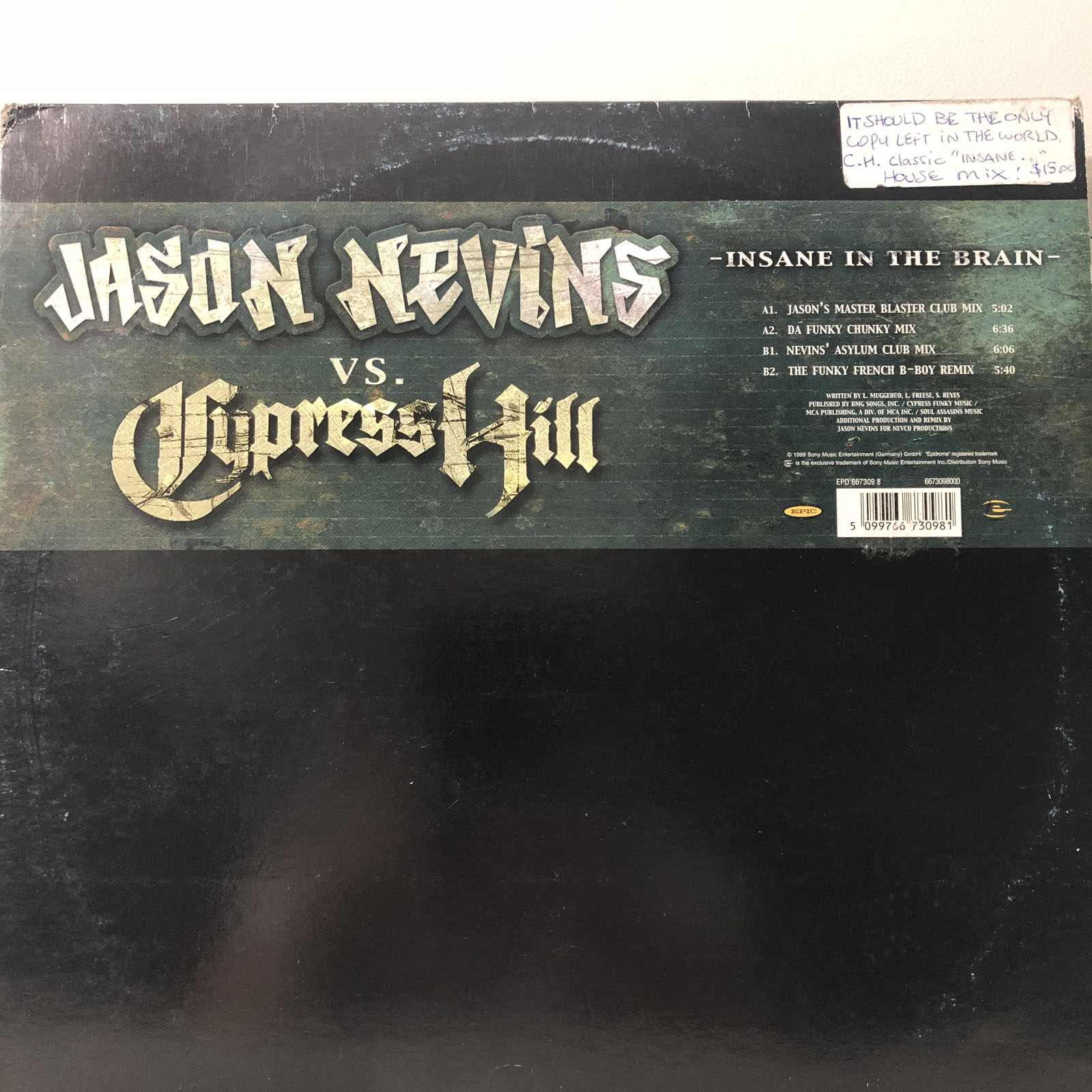 Details about JASON NEVINS vs CYPRESS HILL - INSANE IN THE BRAIN (REMIXES)  (12